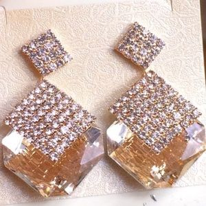 Champagne Rhinestone Drop Earrings